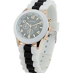 PSFY Women's Geneva Silicone Band Jelly Gel Quartz Wrist Watch