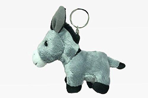 Schlüsselanhänger Esel aus Plüsch, grau, Tier Tiere