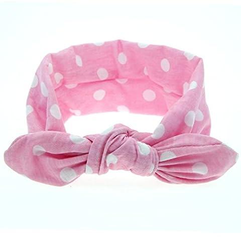 Tonsee Fashion new Baby Girls Headband Rabbit Ears Elastic Wave Point Bowknot Headband (Pink)