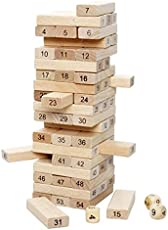PurpleFly Jenga (Tumbling Tower) 54 pcs Numbered Wooden Blocks, with 4 Dices