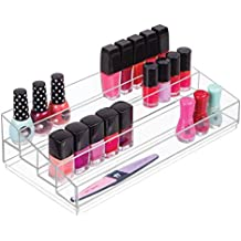mDesign Organizador de maquillaje – Caja transparente con 4 compartimentos - Ideal para guardar maquillaje y