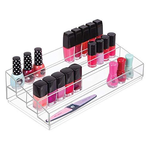 mDesign Kosmetik Organizer ? Aufbewahrungsbox mit vier Fächern für Make-up, Nagellack und Beautyprodukte ? die ideale Schminkaufbewahrung ? transparent -