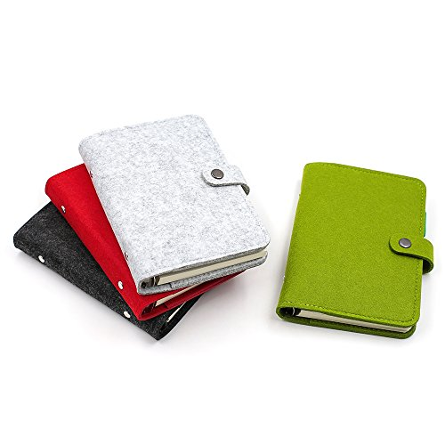 Zhi Jin, nachfüllbares Notizbuch / Ringbuch / Tagebuch / Terminkalender, A6, Wollfilz, fester Einband, Stifthalter Gray-Ruled Paper