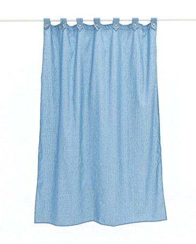 Duschvorhang aus glattem Segeltuch, mit Schlaufen und Knöpfen, 100 % Polyester, wasserabweisend und schimmelresistent 180 x 200 cm blau (Duschvorhang Knöpfe)