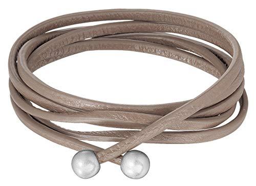 Signature Kette Essentials straps taupe leather worn silver von Sence Copenhagen