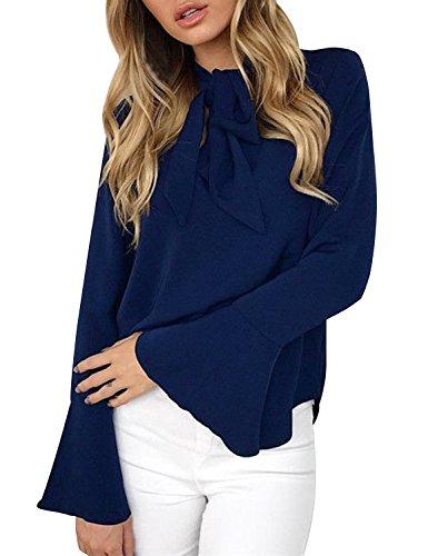 Aitos Blusen Damen Langarmshirt Oberteile V-Ausschnitt Flare Hülse Elegant Chic Lose Vintage Hemd Tuniken T Shirt Einfarbig Plain Casual Freizeit Blau 38-40/M (Plain-kragen-shirt)