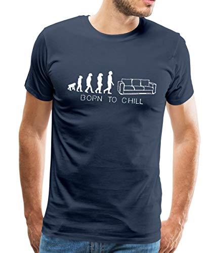 Spreadshirt Born to chill, sofa, kanapee, diwan, liege, couch,bett, evolution, T-Shirts Männer Premium T-Shirt, 3XL, Navy