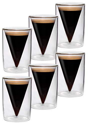 6x verres à double paroi de 70 ml, design moderne pour votre espresso - design exclusif, cadeau exceptionnel, Spikey (F) de Feelino (R)