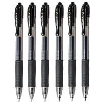 Pilot G2 07 Black Fine Retractable Gel Ink Pen Rollerball 0.7mm Nib Tip 0.39mm Line Width Refillable BL-G2-7 (Pack Of 6)