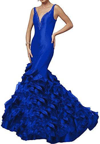 Milano Bride Schwarz Elegant Langes Meerjungfrau V-ausschnitt Abendkleider Partykleider Promkleider 2017 Neu Royal Blau