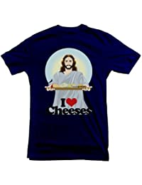 Jesus T-shirt Christ with a Cheese board (Medium, Navy Blue) [Apparel]