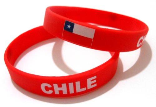 Unisex País Bandera nacional de silicona pulsera de goma de moda pulsera brazalete (Chile)