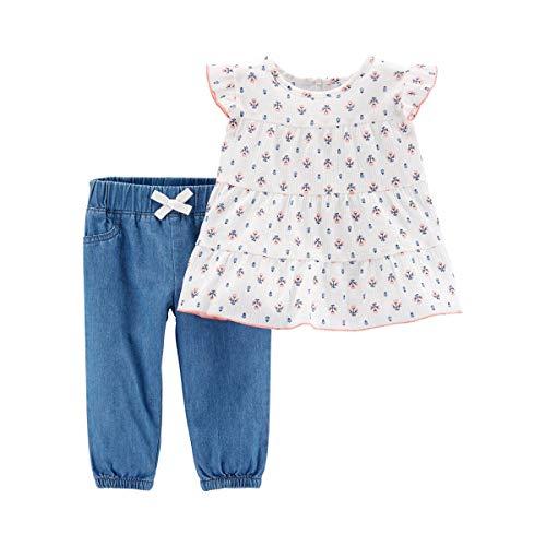 CARTER´S 2-TLG. Set Tunika mit Flügelarm und Jeans Blumen Carter Jeans