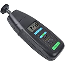 Ckeyin Tacómetro de mano digital (de contacto, pantalla LCD, fotoeléctrico)