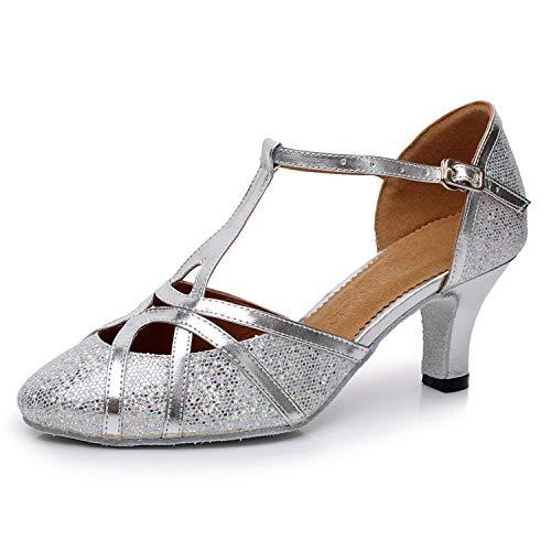 Jywmsc Frauen Latein Funkeln Tanzschuhe Salsa Tango T-Strap Geschlossen Ballsaal Tanzen Schuhe Hochzeit Abendschuhe