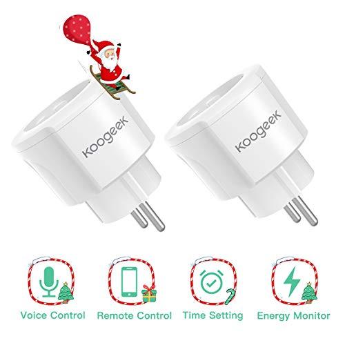 Koogeek Presa Intelligente WiFi, Mini Smart Plug di Temporizzazione, Compatibile con Alexa/Google Home, Telecomando con APP Vocale, per iOS Android App 2.4GHz WIFI (2 Packs)