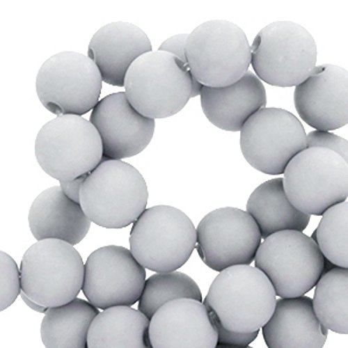 (Sadingo Acrylperlen Matt, 600 Kunststoffperlen 6 mm - Großpackung Großhandel - Armband selber basteln, DIY Schmuck, Farbe:Dunst Grau)