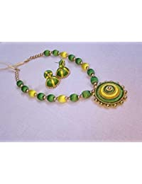 Yellow And Green Fashion Jewellery Set With Necklace And Earrings