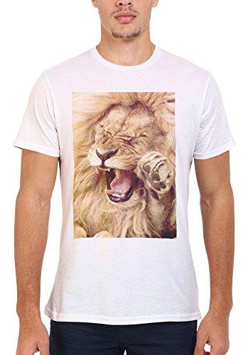 Smiling Lion Wild Funny Tumblr Men Women Damen Herren Unisex Top T Shirt .Weiß