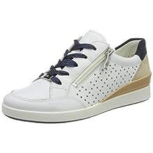 ARA Women's Lazio Sneaker, White White Camel Blue 07, 5.5 UK