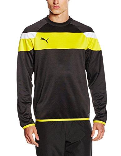 PUMA Spirit II - Felpa sportiva, da uomo, Uomo, Sweatshirt Spirit II Training Sweat, black-Cyber yellow, M
