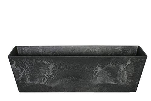 Artstone Pflanzgefäß Balkonkasten Ella, frostbeständig und leichtgewichtig, Schwarz, 74x17x17cm