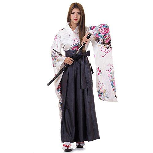 Japan Damen Geisha Samurai Asia Kostüm Kimono Bluse + Hakama Hosenrock (Weiß & Grau)