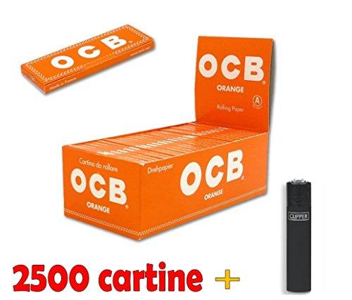 IRPot - 1 BOX DA 50 LIBRETTI CARTINE OCB ORANGE CORTE + ACCENDINO CLIPPER