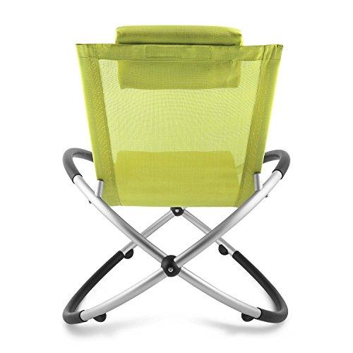 Blumfeldt Chilly Billy • Gartenliege • Liegestuhl • Schaukelliege • Relaxstuhl • ergonomische Wellenform • Sicherheitsstopper • Aluminiumrohr-Konstruktion • atmungsaktives Kunststoffgewebe • pflegeleicht • klappbar • witterungsbeständig • grün - 4