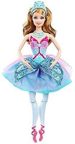 Mattel Barbie X8815 - Die verzauberten Ballettschuhe, Tanzende Ballerina, türkis, Puppe zum Film