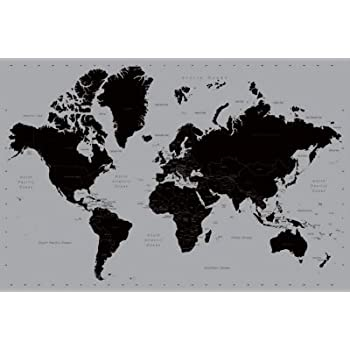 World Map Poster - Contemporary Black & Grey Style 91.5 x 61cms (36 ...