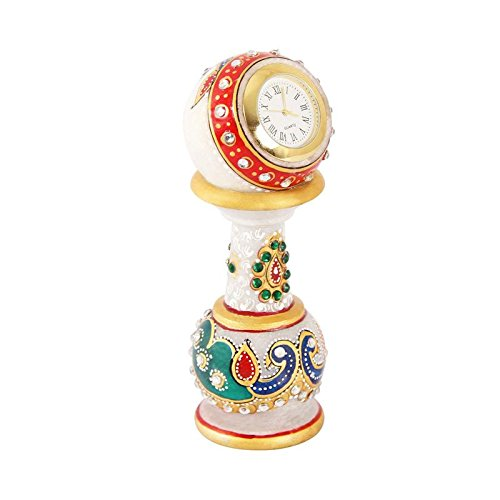 Table clock in marble hand painted Peacock Design  available at amazon for Rs.625