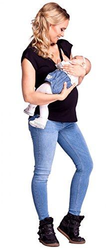 Happy Mama. Femme T-shirt de allaitement double couches col rond maternité. 943p Noir