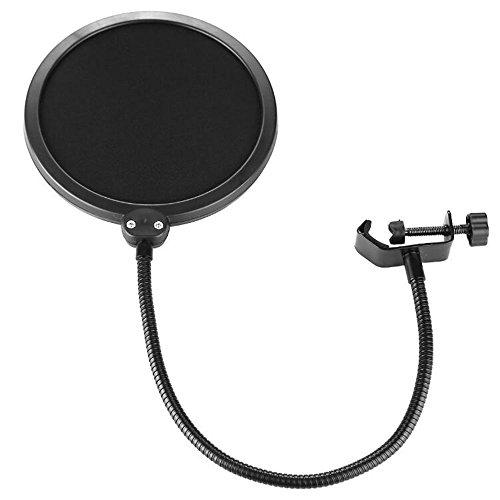 Skitic Filtro Anti-pop per Microfono, Girevole a 360° Studio Microphone Windscreen Pop Filter Anti-vento Maschera protettiva a Clip - Nero