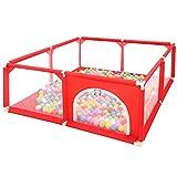WYJW Baby-Laufgitter und Bällebad-Set Sicherheit Spielbereich Tor Kleinkindzelte mit 100 Bällen inklusive (rot)