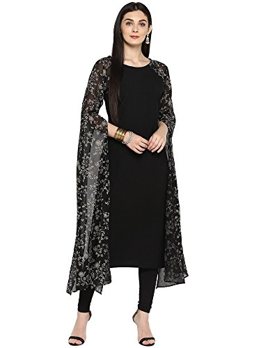 AHALYAA Women's Faux Gorgette Crepe Kurta with Printed Exaggerated Fit Flare Sleeves (Black, AHKUGRRG-648-S, Small Size)