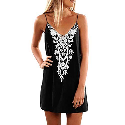 Yvelands Damen Beach Tank Kleid Sling Boho Lace Sleeveless lässige Mini Beachwear Rock Sommerkleid(Black1,XL) Boho Tank Kleid