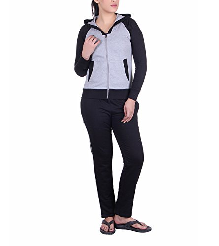 Vivid Bharti 3 Piece Fleece Black Grey Tracksuit