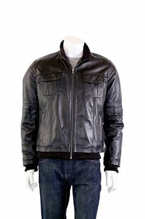 Hommes Classique Bomber Veste en cuir - Caj / Noir