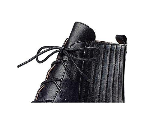 YYH École vent Martin Casual en cuir, bottes, Chausson plate plateforme augmente la campagne femmes bottes chaussures Silver