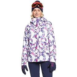 Roxy Jetty-Veste de Ski/Snowboard pour Femme, Bright White Famous Alphabet, FR (Taille Fabricant : XL)
