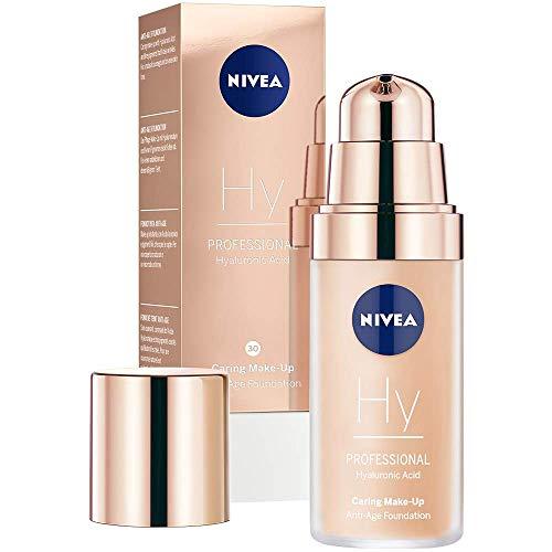 NIVEA PROFESSIONAL Hyaluronsäure Anti-Age Make-Up Foundation, 30W, warmer Hautton, Anti-Aging Foundation mit hochwirksamer Anti-Falten-Pflege, Kombi-Make-Up mit 3-fach Anti-Age Effekt, 1 x 30 ml