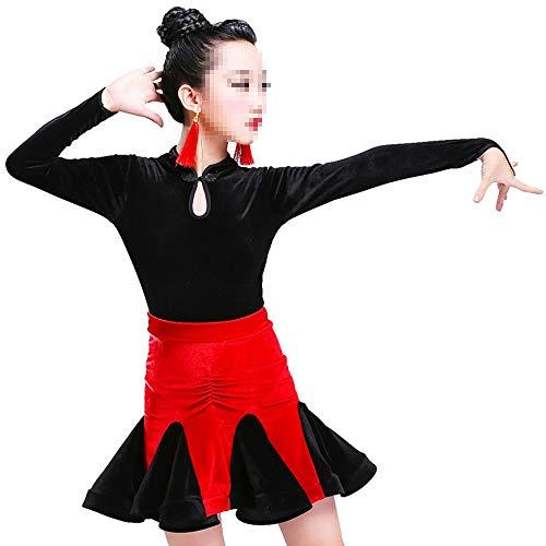 Yzibei Mädchen Schönheitswettbewerb Fransedance-Kleid Tanztanz Leistungswettbewerb Ballsaal Kostüm Stickerei Ballkleid (Farbe : Red Plus Black, Größe : 130cm) (Mädchen Red Flapper Kostüm)