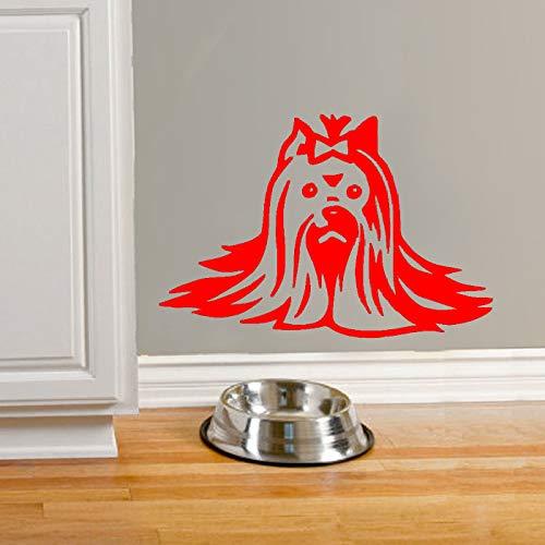 Yorkie Wandtattoo Yorkshire Terrier Dog Beauty Speziell gestaltetes niedliches Wandtattoo Wandbild Schlafzimmer Dekor rot 57X81cm - Express-film-poster