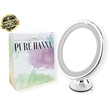 Specchio cosmetico PUREHANNA con illuminazione a LED ed ingrandimento di