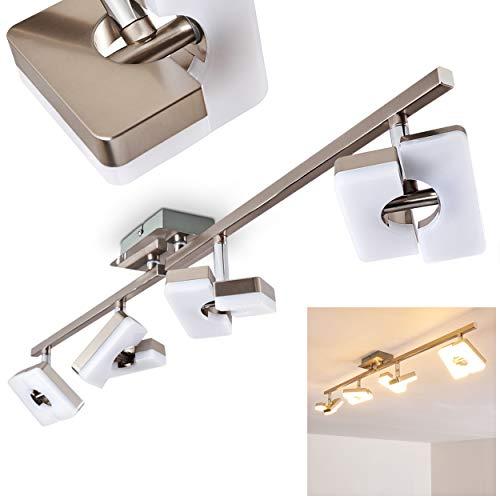 Nickel-metall-schatten (LED Deckenlampe 4-flammig - Deckenstrahler Sumoas aus Metall in Nickel matt - Deckenleuchte mit verstellbaren LED-Spots - Zimmerlampe für Wohnzimmer, Schlafzimmer, Flur - 3000 Kelvin - 1600 Lumen)