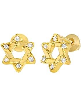 In Season Jewelry Kleinkind Mädchen - Schraubverschluss Ohrringe Jüdischer Stern von David 18k Vergoldet CZ Zirkonia