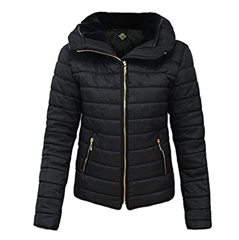AMBER APPAREL NEW LADIES WOMENS QUILTED PADDED PUFFER BUBBLE FUR COLLAR WARM THICK JACKET COAT -