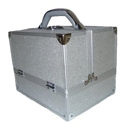 Sparkly Silver 2 Piece Beauty Makeup Vanity Case Box Hair Nails Jewellery