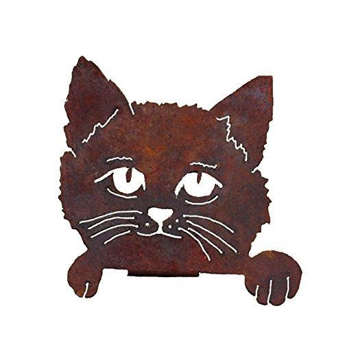 Elegant Garden Design Cat Face, Stahl Silhouette mit einer rostigen Patina